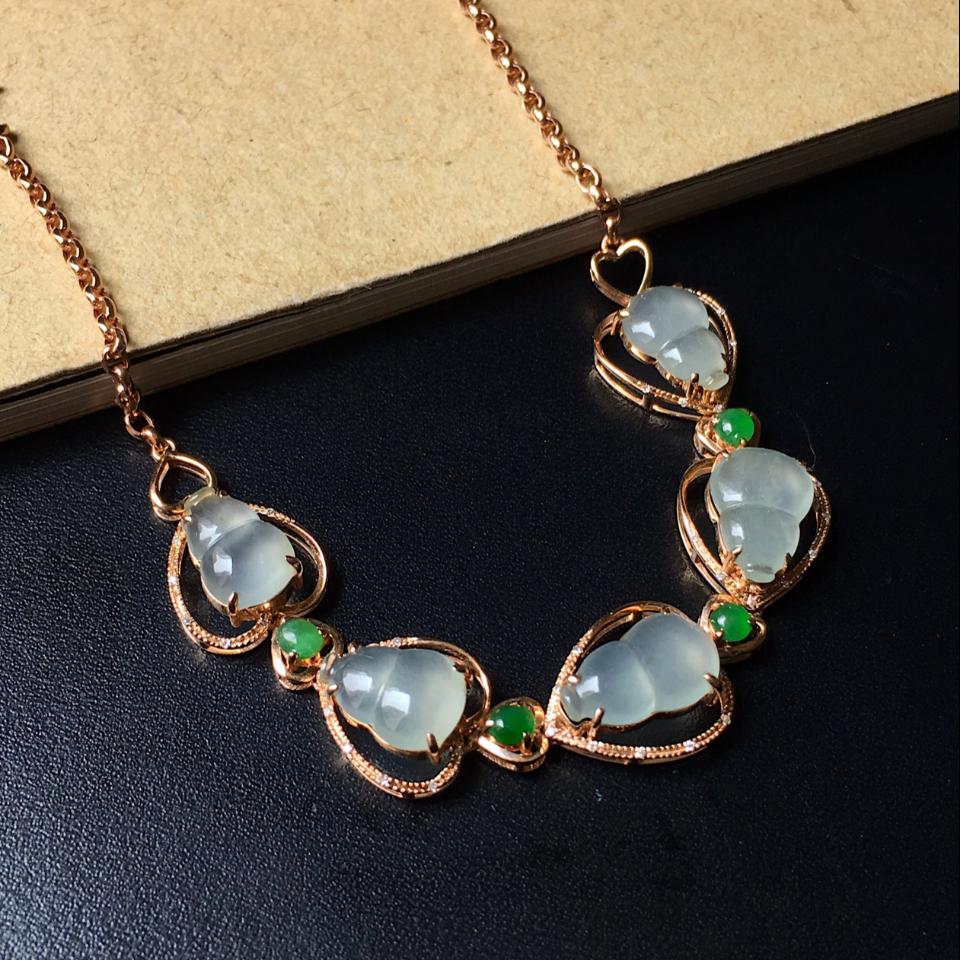 冰种无色/翠色葫芦翡翠手链 镶18K玫瑰金钻石