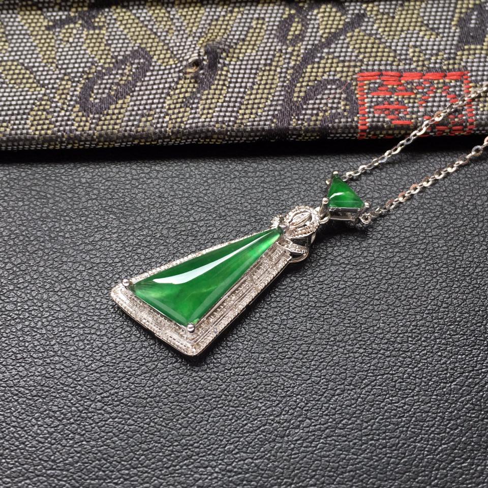 冰种深绿随形翡翠锁骨链镶白金钻石第3张