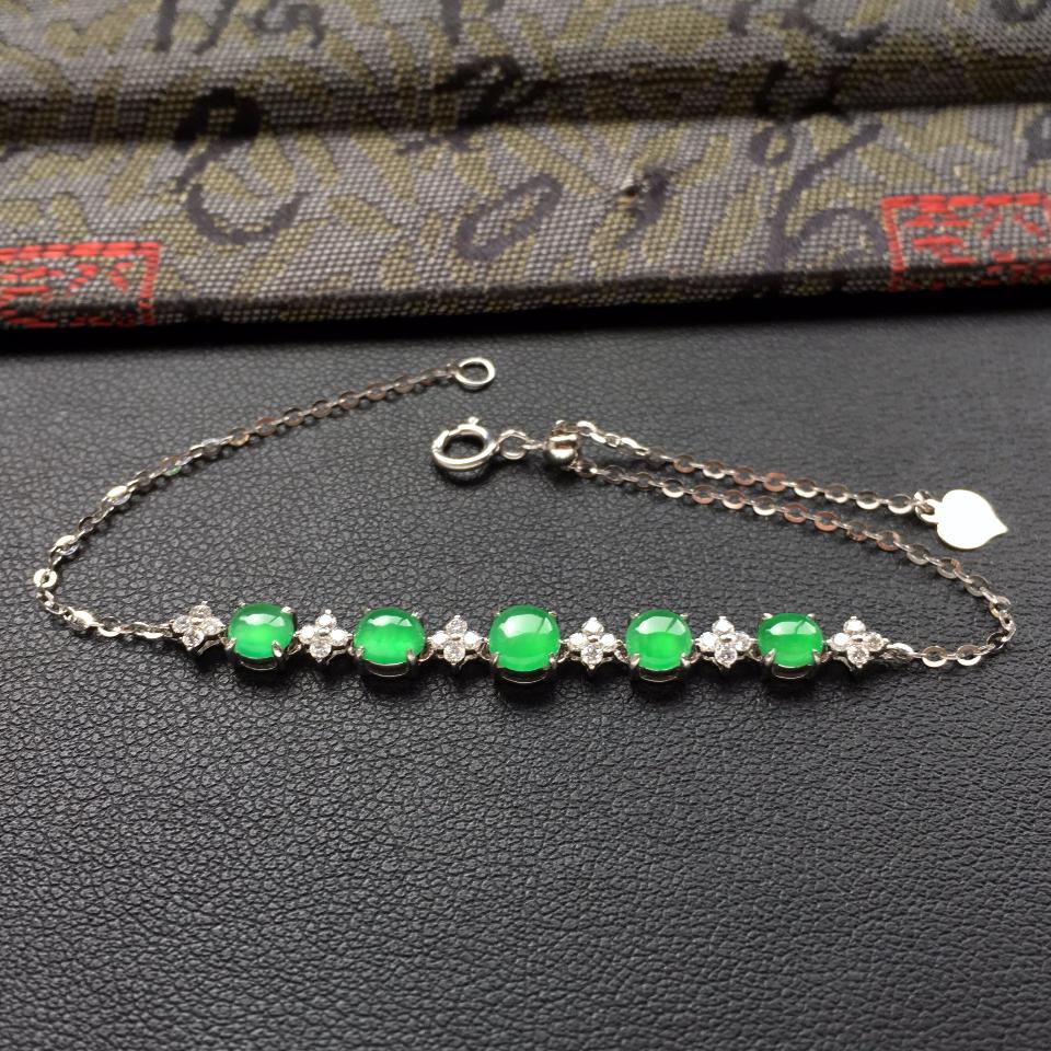 冰种翠色翡翠手链镶白金钻石第3张
