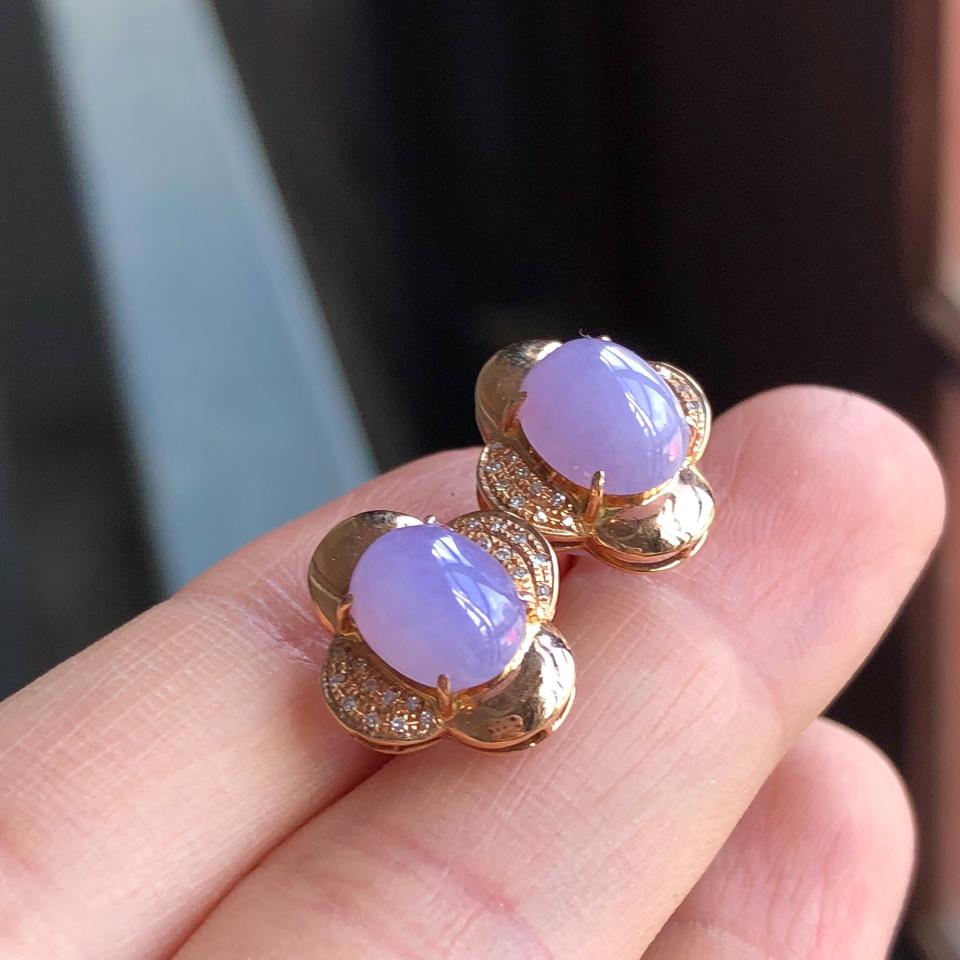 糯冰种紫罗兰翡翠耳钉 镶玫瑰金钻石第2张