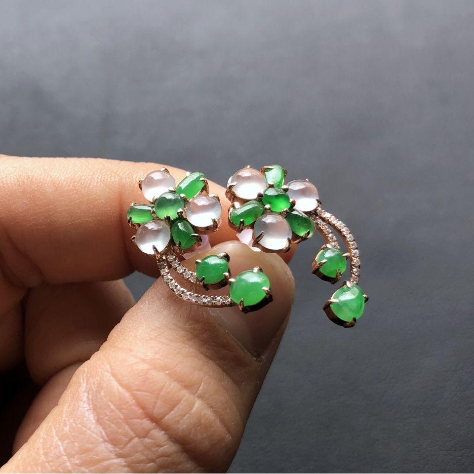 冰种翠色/无色花型翡翠耳钉 镶玫瑰金钻石第5张