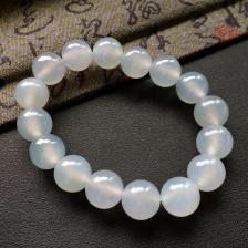 冰种灰白色圆珠翡翠手串