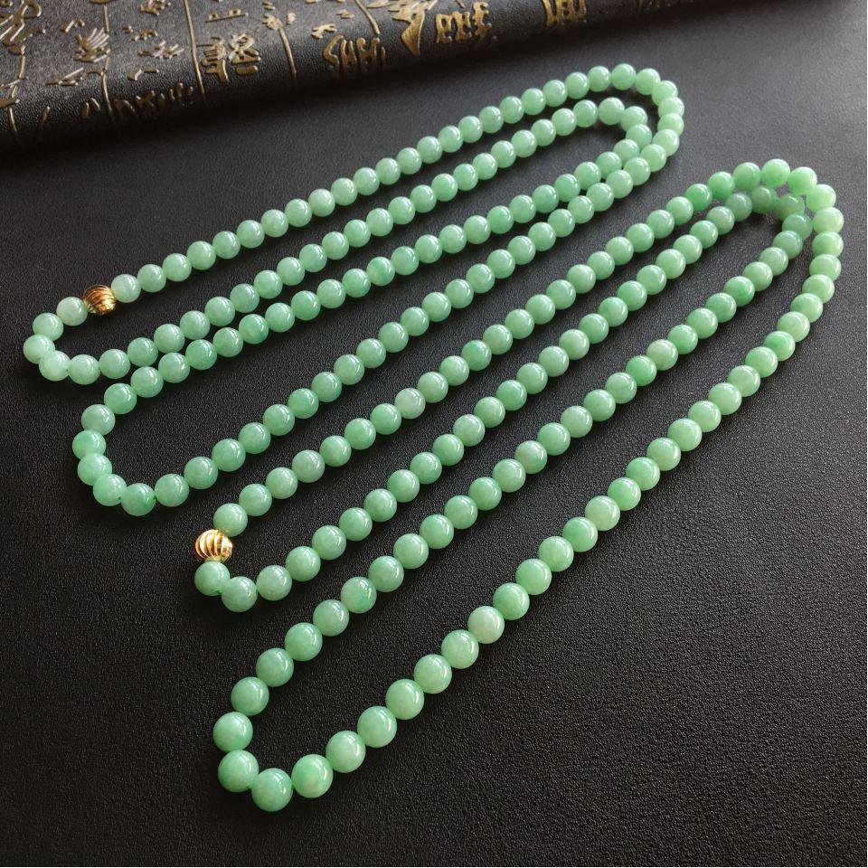 淡绿色糯冰种圆珠翡翠项链(单价)