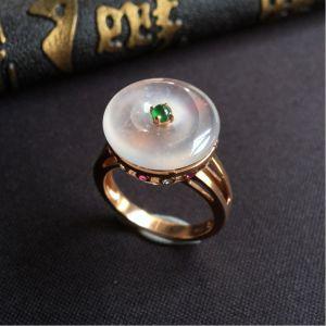 冰玻种无色平安翡翠戒指 镶玫瑰金