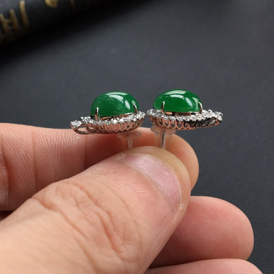 糯冰种深绿翡翠戒指/耳钉(一套) 镶白金钻石第8张