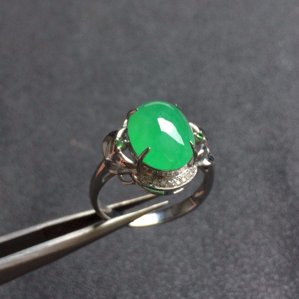 冰种晴水色飘翠翡翠戒指 镶白18K金钻石彩宝