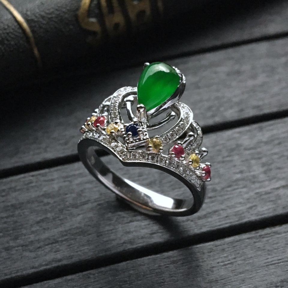冰种阳绿水滴翡翠戒指 镶白金钻石