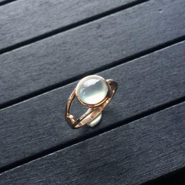 冰玻种无色翡翠戒指 镶玫瑰金