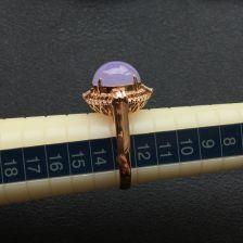 糯冰种紫罗兰翡翠戒指 镶玫瑰钻石
