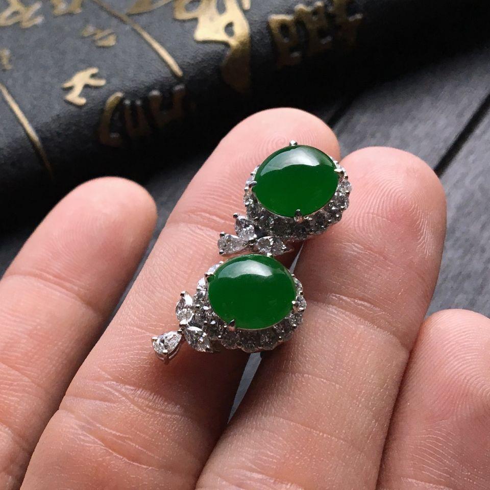 糯冰种阳绿翡翠耳钉镶白金钻石第7张