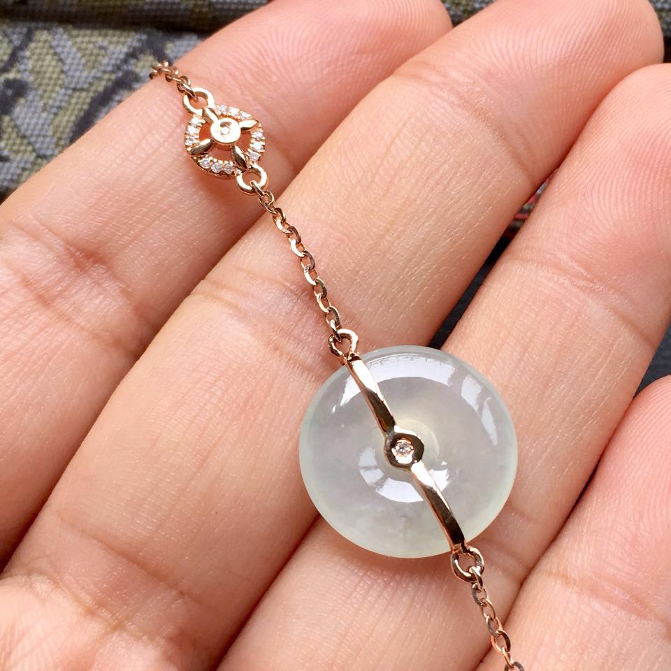 冰种淡晴水平安扣翡翠手链 镶玫瑰金钻石第4张