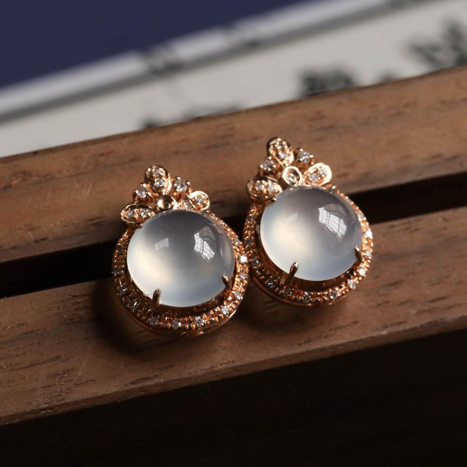 无色冰种翡翠耳钉一对 镶18K玫瑰金钻石第2张