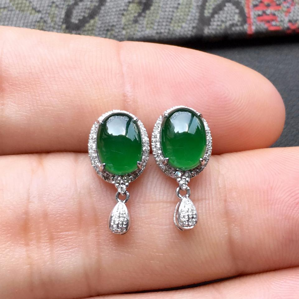 深绿冰种翡翠耳钉一对 镶白金钻石第6张