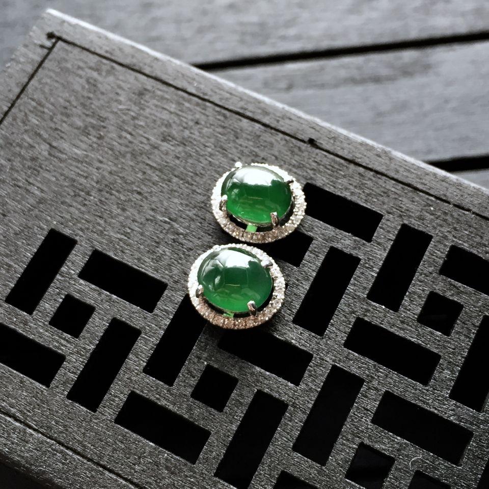 冰种蓝绿翡翠耳钉镶白金钻石第3张