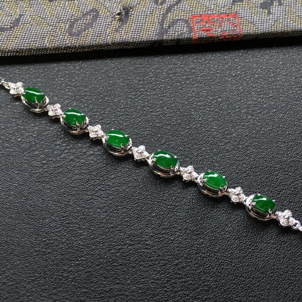 糯冰种深绿翡翠手链 镶白金碎钻