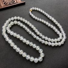 白色冰种圆珠翡翠项链