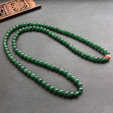 深绿冰种圆珠翡翠项链/108佛珠