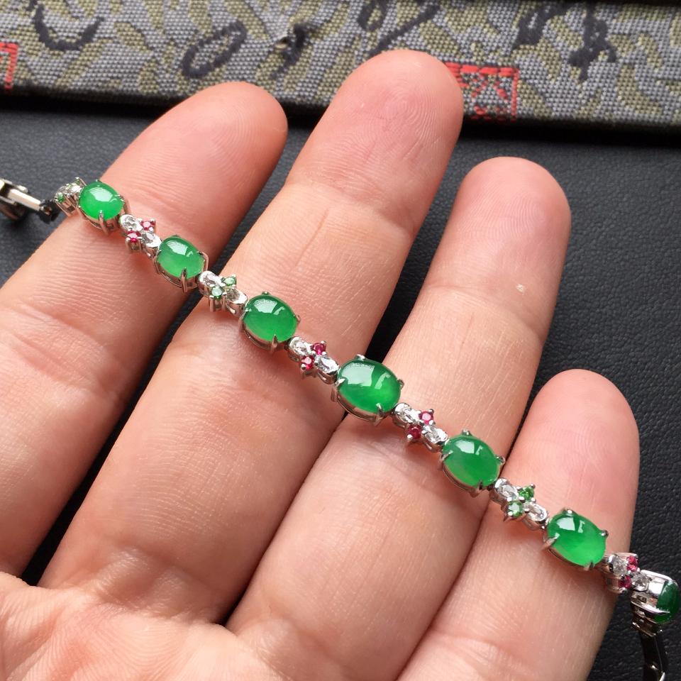 翠色冰种翡翠手链镶白金钻石/彩宝第6张