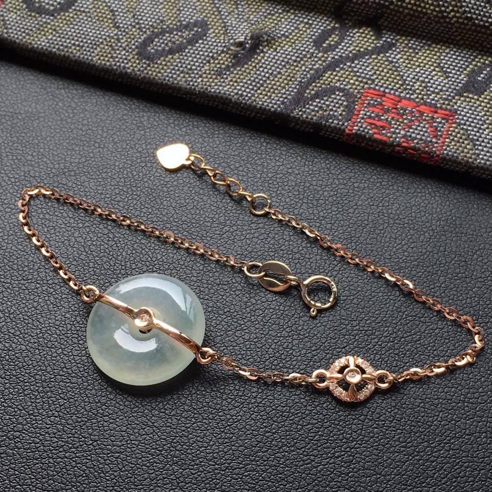 冰种淡晴水平安扣翡翠手链 镶玫瑰金钻石第2张