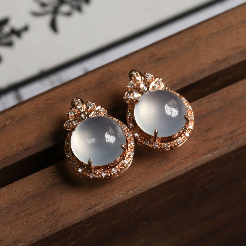 无色冰种翡翠耳钉一对 镶18K玫瑰金钻石第1张