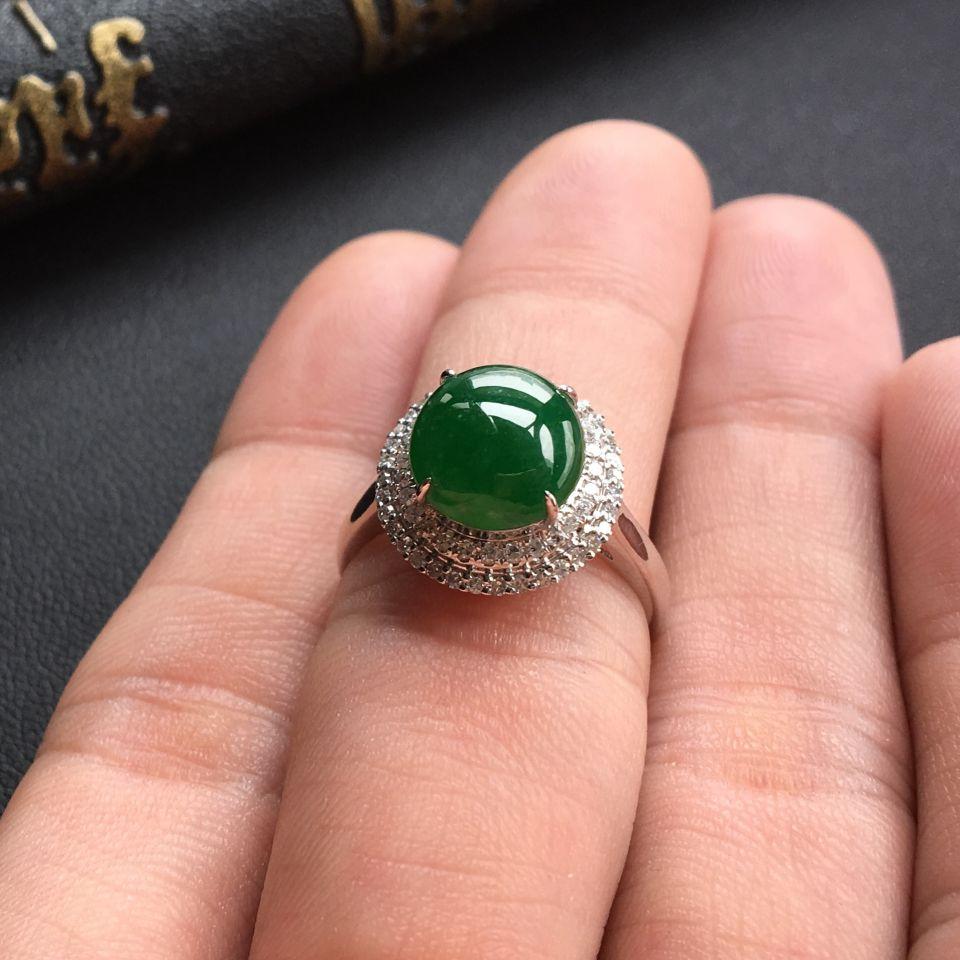 糯冰种深绿翡翠戒指/耳钉(一套) 镶白金钻石