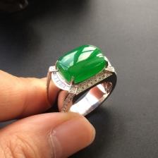 冰种正阳绿翡翠戒指(男戒)