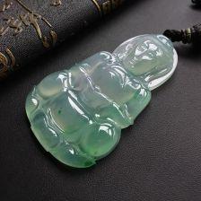 冰种飘绿观音翡翠吊坠