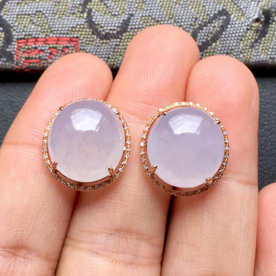 冰种淡紫罗兰翡翠耳钉一对 镶玫瑰金钻石第6张