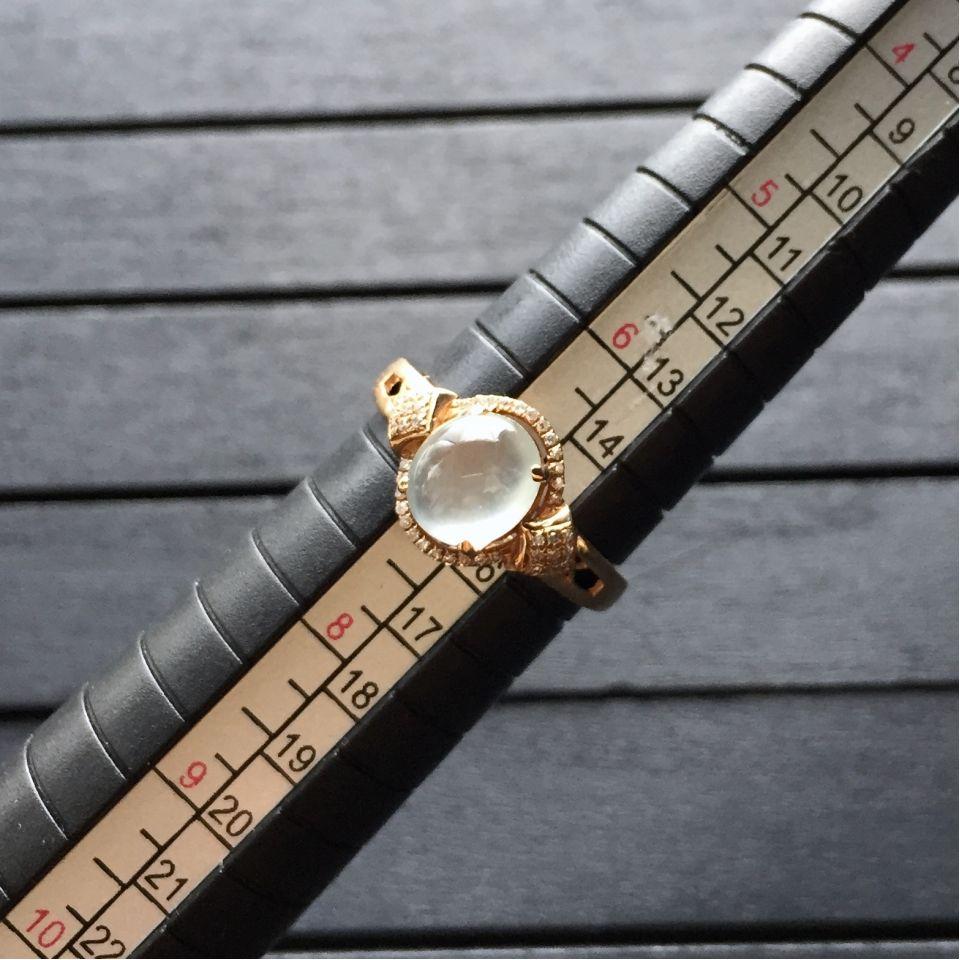 冰种无色翡翠戒指 镶玫瑰金钻石第9张