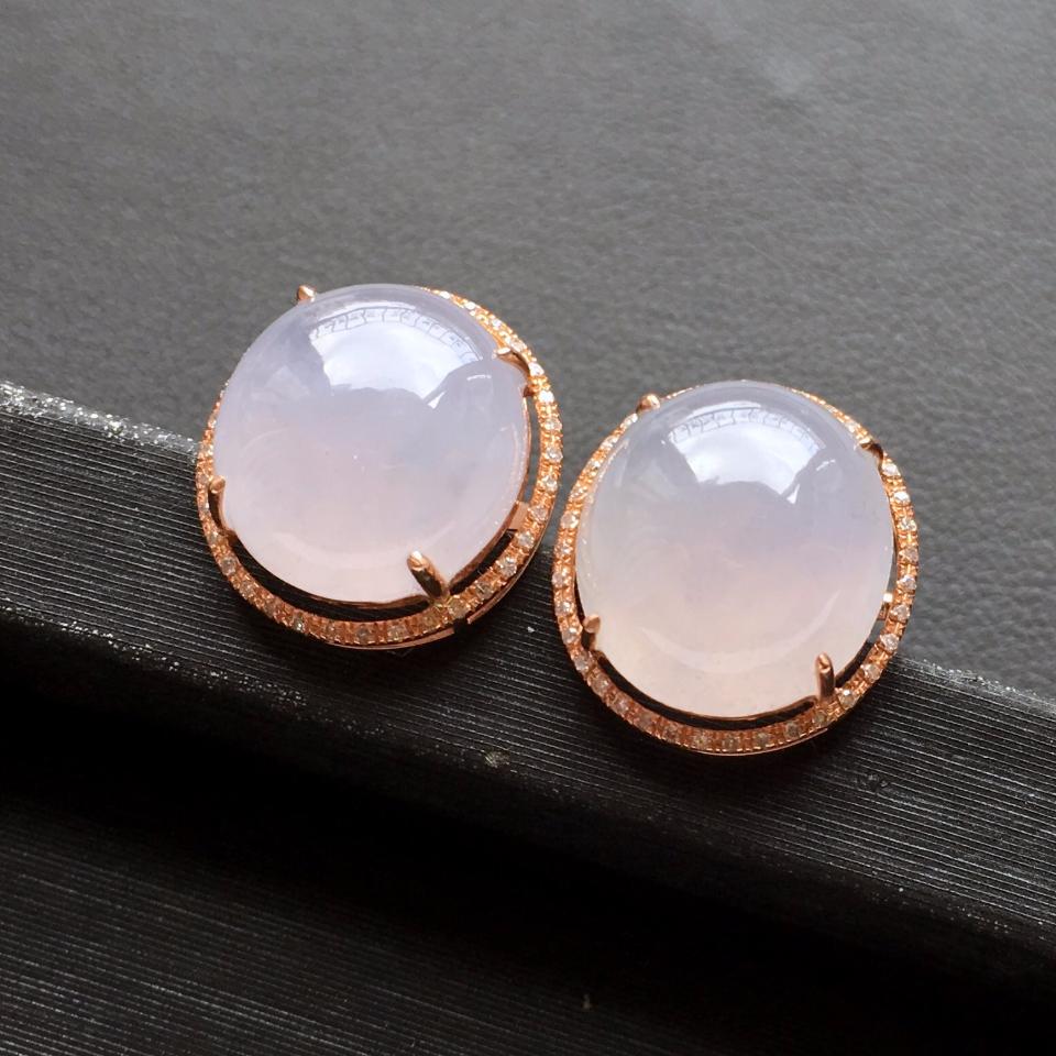 冰种淡紫罗兰翡翠耳钉一对 镶玫瑰金钻石第1张