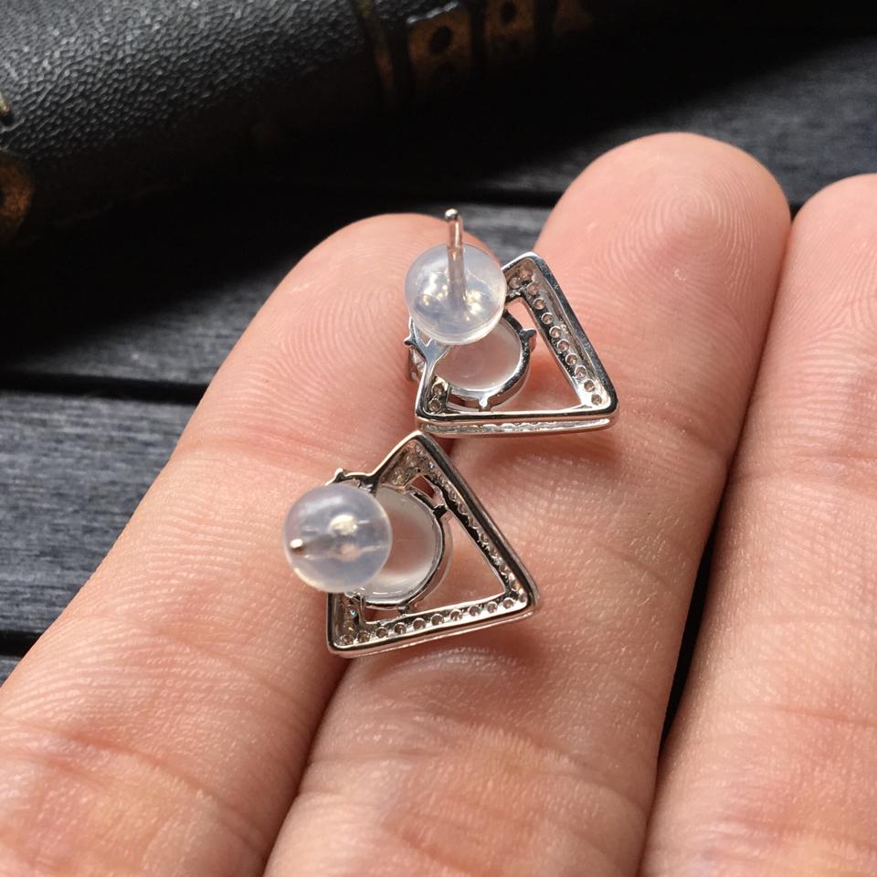 无色冰种翡翠耳钉 镶白金钻石