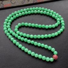 糯冰种满绿圆珠翡翠项链/108颗佛珠