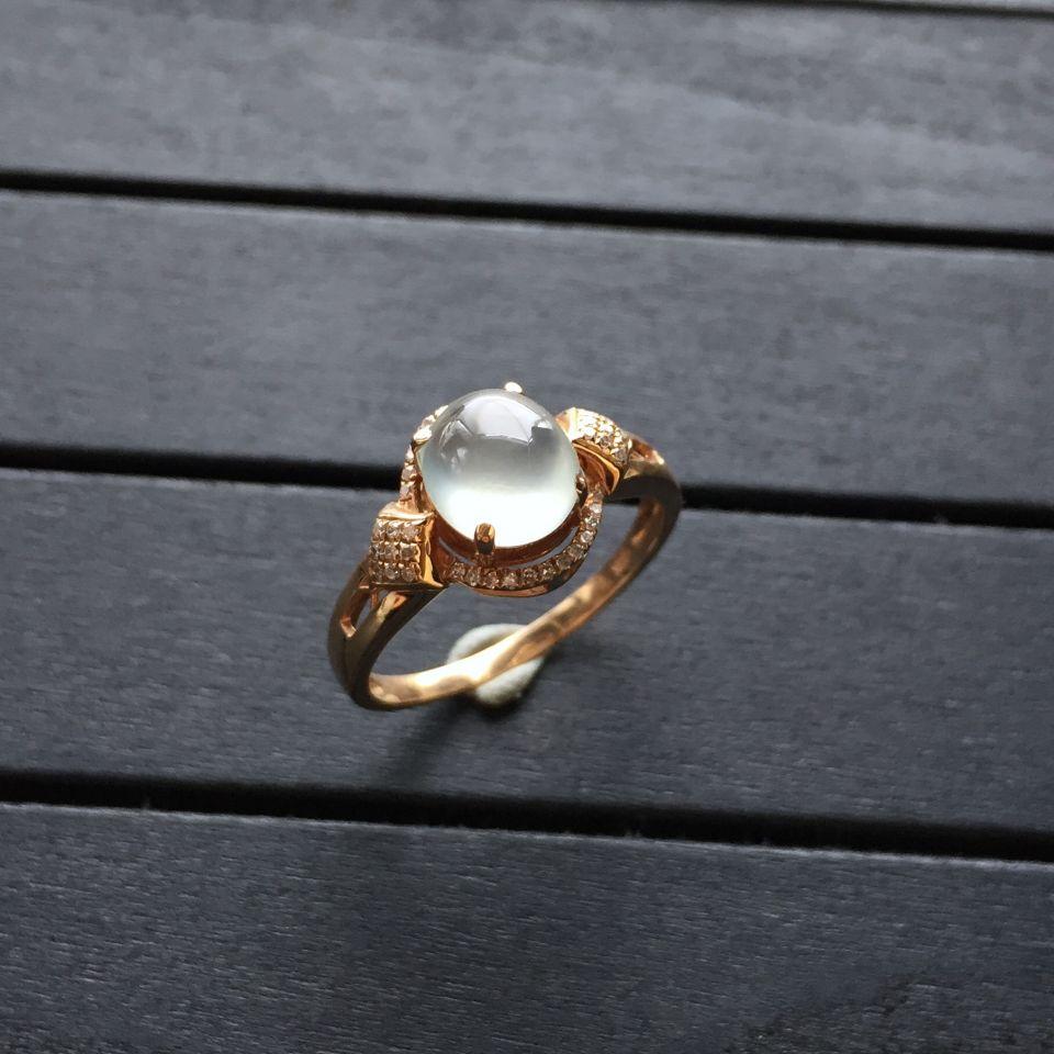 冰种无色翡翠戒指 镶玫瑰金钻石第2张