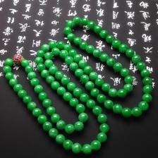 糯种满绿翡翠项链