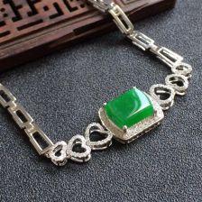 糯冰种翠色翡翠方形手链 镶白金钻石
