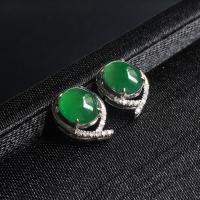 冰种阳绿蛋面翡翠耳钉 镶白18K金钻石