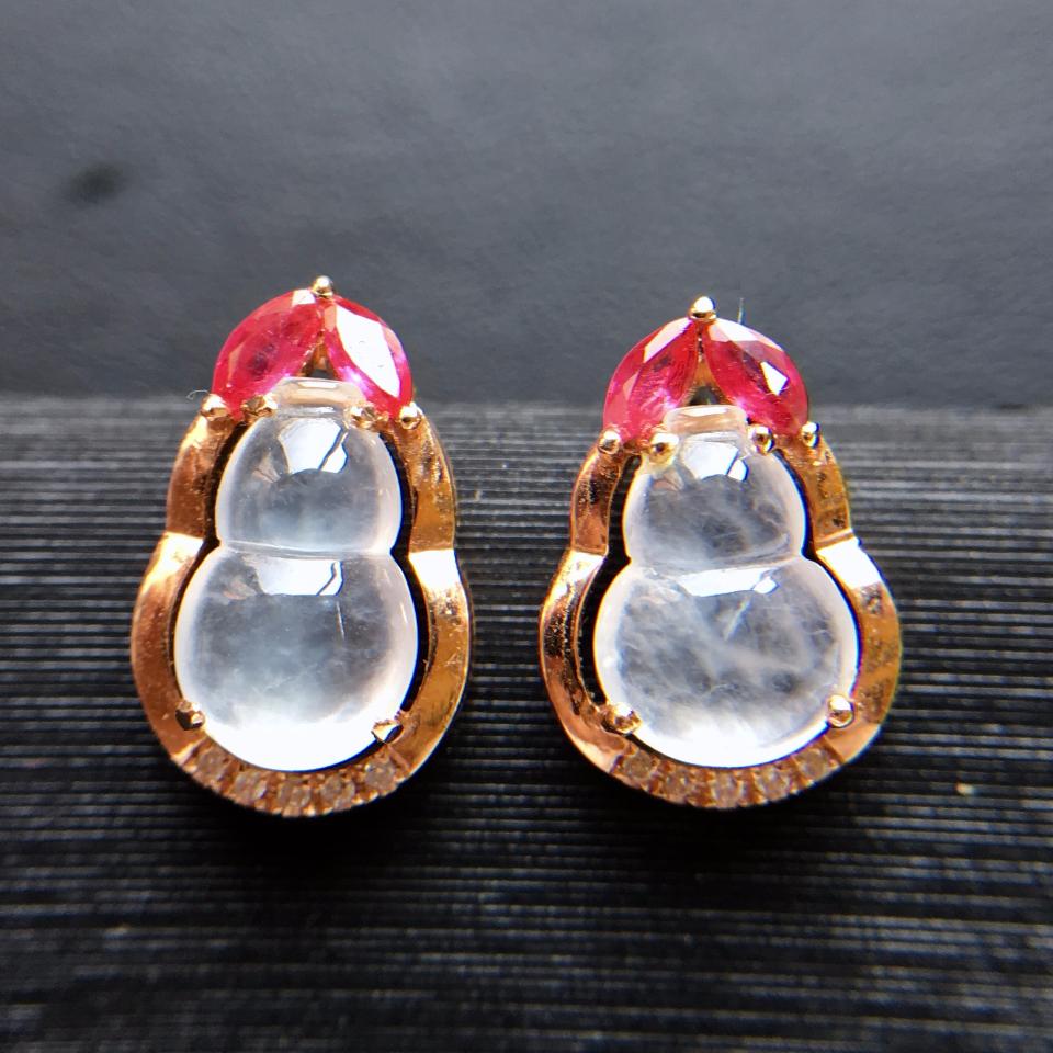 冰种无色葫芦翡翠耳钉一对 镶玫瑰金钻石