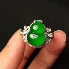 冰种帝王绿葫芦翡翠戒指