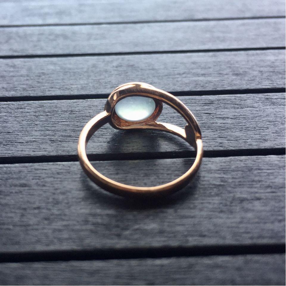 冰玻种无色翡翠戒指 镶玫瑰金第6张