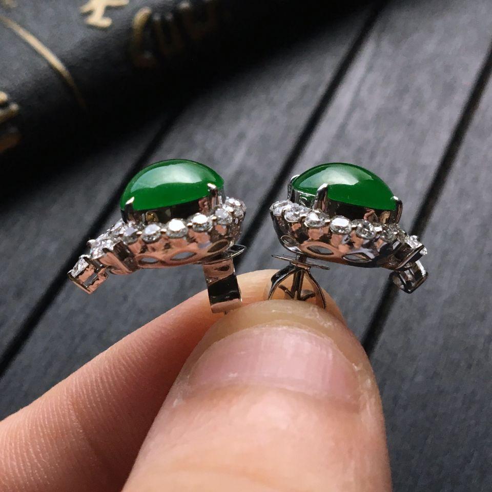 糯冰种阳绿翡翠耳钉镶白金钻石第6张
