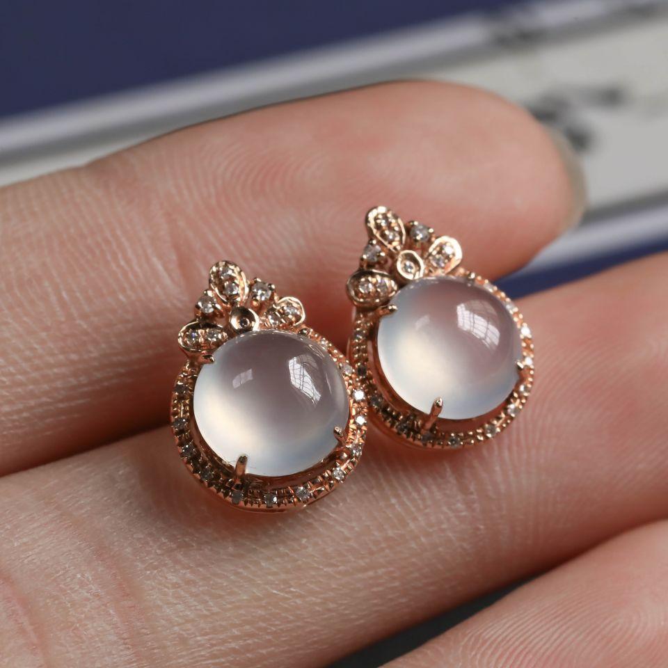 无色冰种翡翠耳钉一对 镶18K玫瑰金钻石第3张