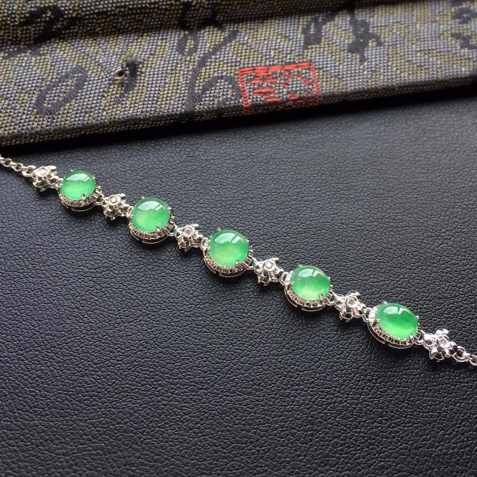 冰种绿晴水翡翠手链镶白金钻石第5张