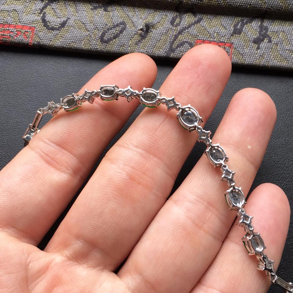 翠色冰种翡翠手链镶白金钻石/彩宝第7张