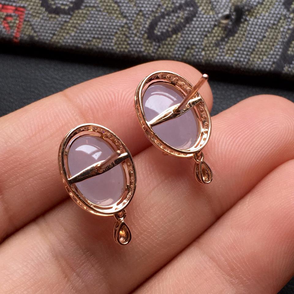 糯冰种紫罗兰翡翠耳钉一对 镶玫瑰金钻石第8张