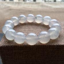 冰种略飘花圆珠翡翠手串(14.7mm)
