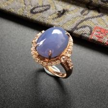 糯冰种紫罗兰翡翠戒指(镶玫瑰金钻石)