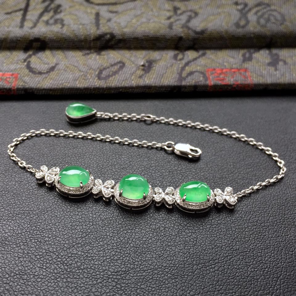 翠色冰种翡翠手链 镶白金钻石第3张