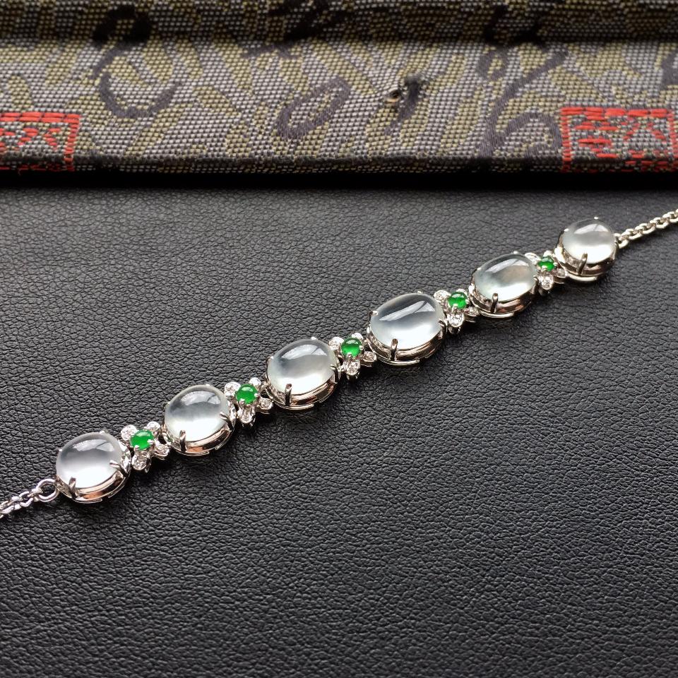 冰种白色翡翠手链镶白金钻石第4张
