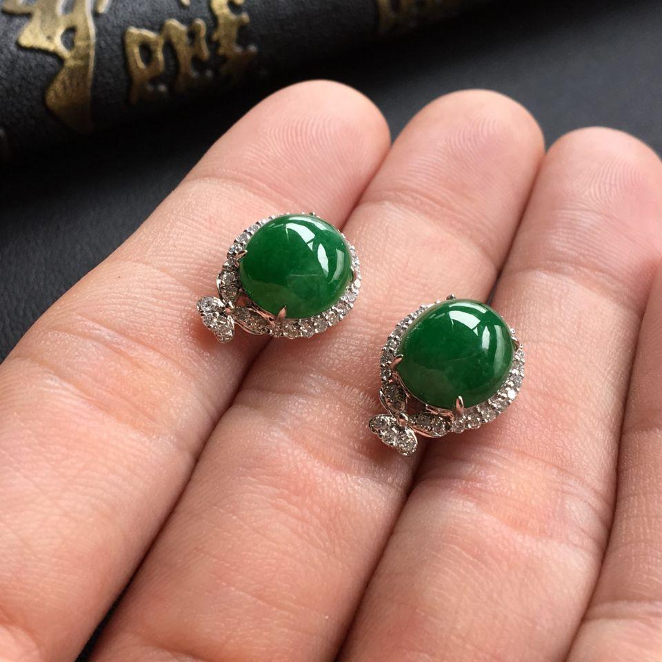 糯冰种深绿翡翠戒指/耳钉(一套) 镶白金钻石第7张
