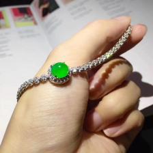 冰种阳绿蛋面翡翠手链